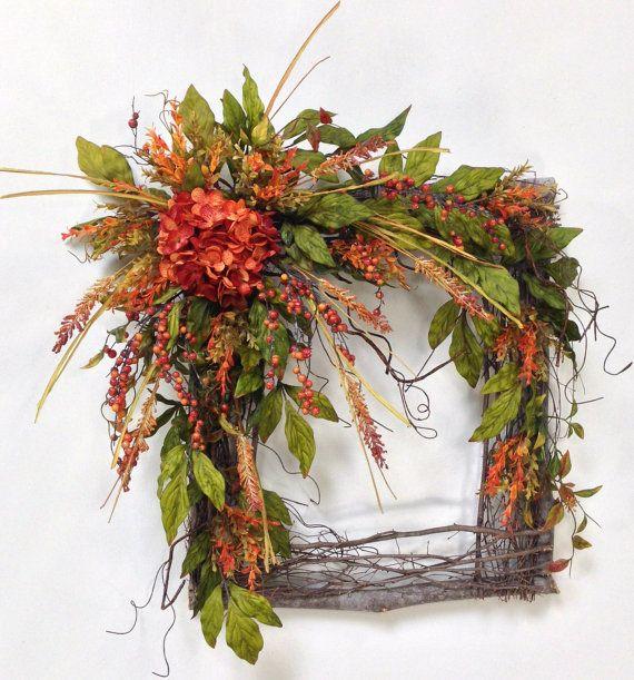 Fall Wreath Hydrangea Wreath Autumn Wreath by CrookedTreeCreation