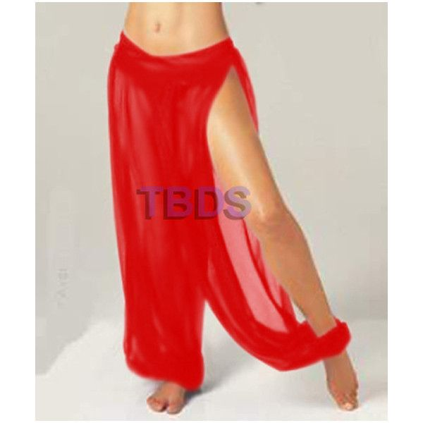 Red Chiffon Pants Belly Dance Pant Harem Pant Yoga Pant Pantaloons... ($11) ❤ liked on Polyvore featuring pants, black, women's clothing, see through pants, harem pants, elastic waist pants, slit pants and belly dance harem pants