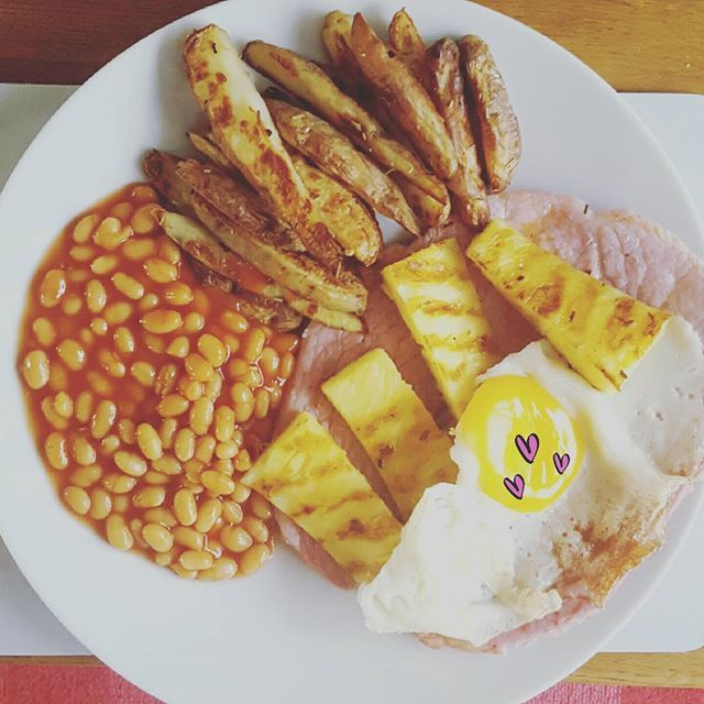 Gammon, egg, chips, pineapple and beans. Free on no count weight watchers