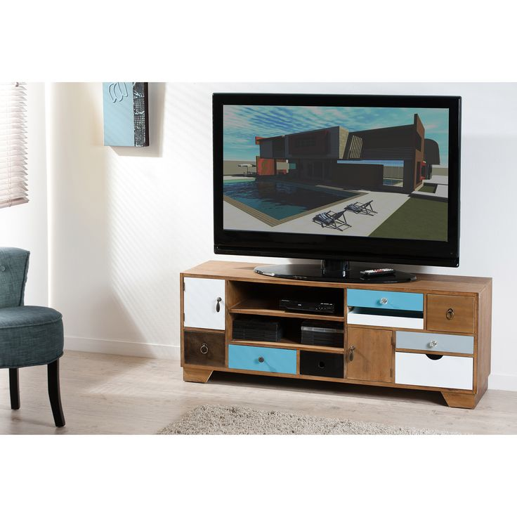 Meuble TV bas multi rangements en bois L122cm MARIUS port offert
