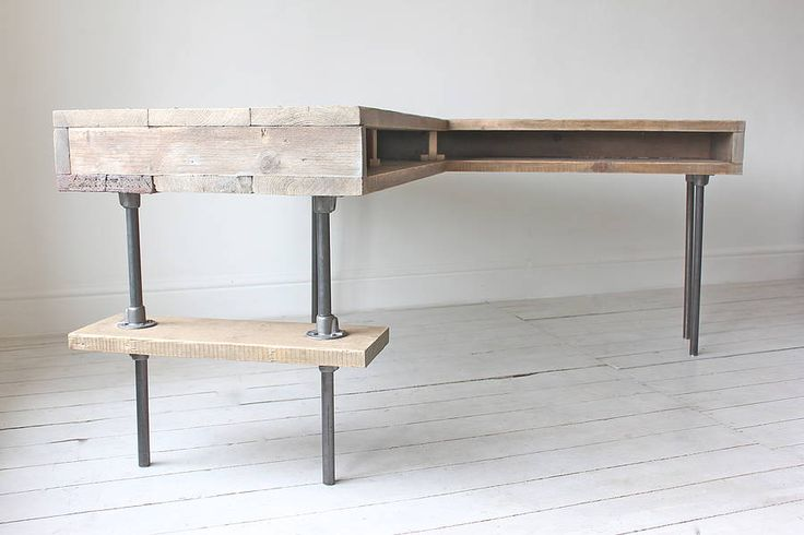 industrial reclaimed board corner desk