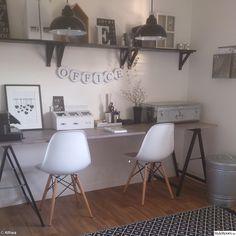 eames stol,industri,shabby chic,ikea,träbockar,millandante,miss etoile,zink,koffert,svart,vitt,svart och vitt,arbetsrum,hemmakontor,kontor,d...