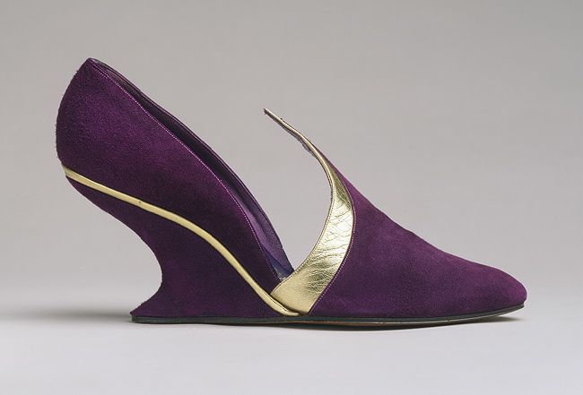 Shoes, 1948–50  Salvatore Ferragamo (Italian, 1898–1960)  Purple suede and gold metallic leather
