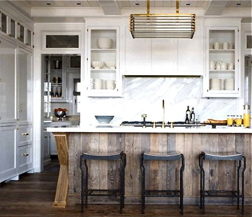 Renovation Inspiration: 12 Beautiful White Marble and Wood Kitchens -  rustic wood island, white cabinets, marble, brass - 25+ Best Ideas About Reclaimed Wood Kitchen On Pinterest Wood