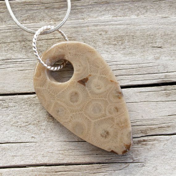 Petoskey Stone Jewelry  Petoskey Stone Pendant  by SincerelyEarth