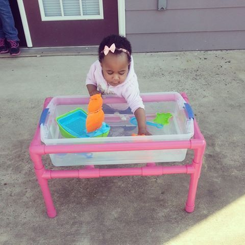 DIY Water Table-My husband made this water table for our daughter using PVC…
