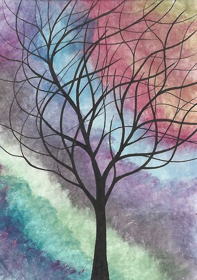 This might be fun to try. A watercolor background with the main subject in calligraphy ink.  Aceo Original Watercolor Painting