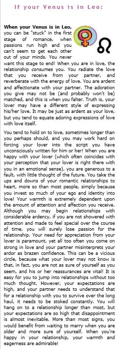 Venus in Leo Ive changed so much... but there are still some truths here.