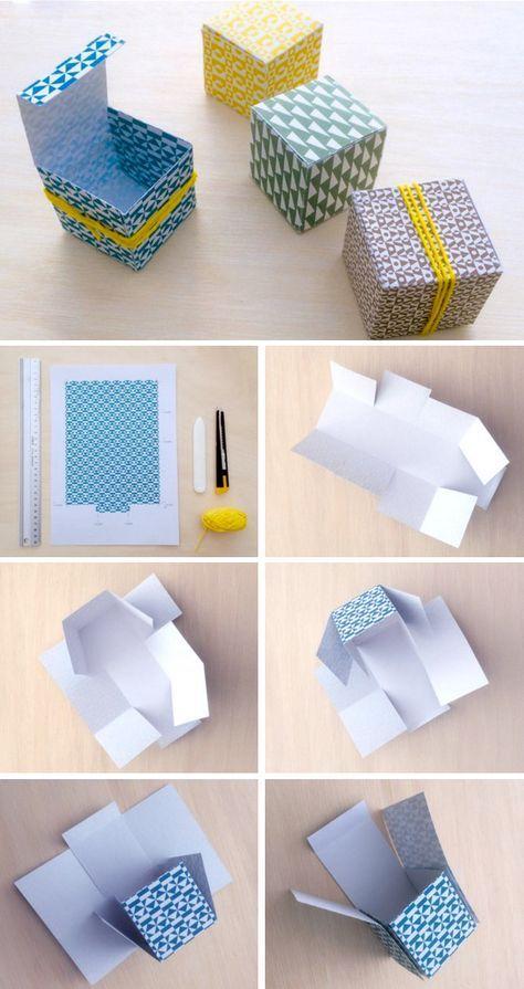 DIY - kleine doosjes vouwen en maak je eigen doopsuikerdoosjes of snoepdoosjes voor kindertractaties. Gratis downloaden op de websop van Paper and June.