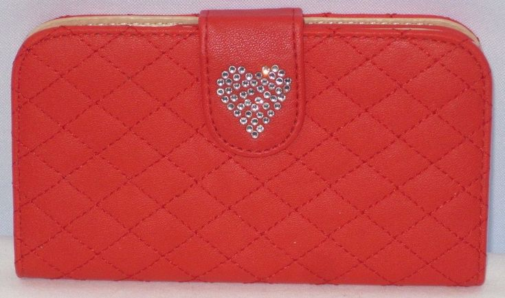 Cute Red Quilted Smartphone Cover with Rhinestone Heart