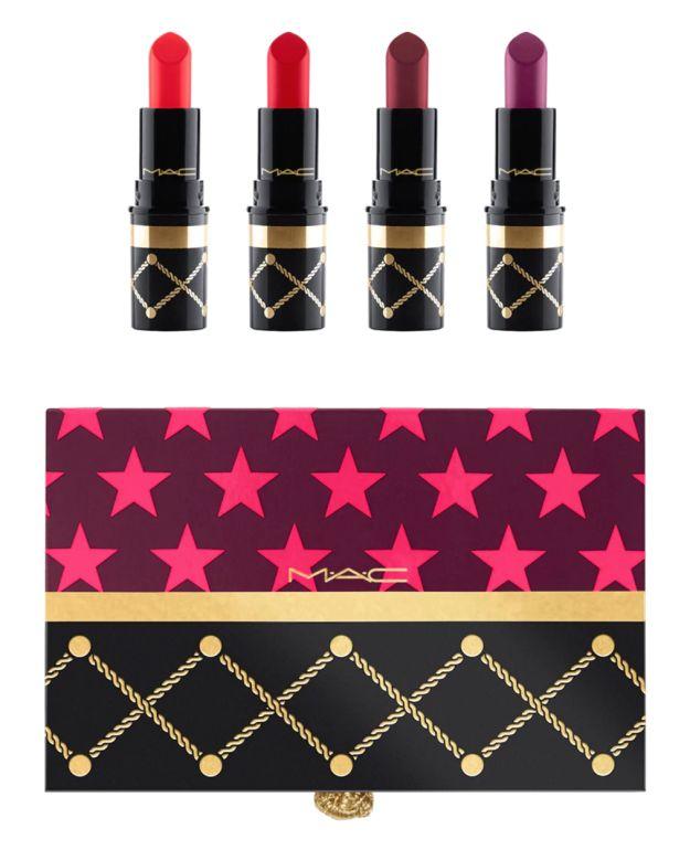 Cascanueces dulce rojo del lápiz labial Mini Kit de MAC introducirá Señora Peligro, diva, rebelde, y MAC Roja en su rotación regular de pintalabios bolso.