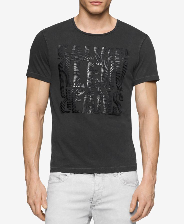 Calvin Klein Jeans Herren T-Shirt mit Rundhalsausschnitt und verflüssigtem  Logo  Calvin  Herren 62df6856a1