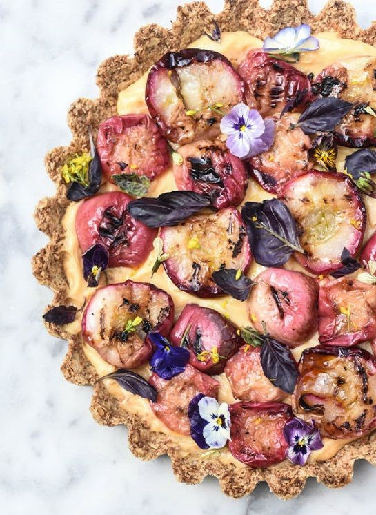 ... oat crust tart with zested creme patissiere & charred nectarines ...