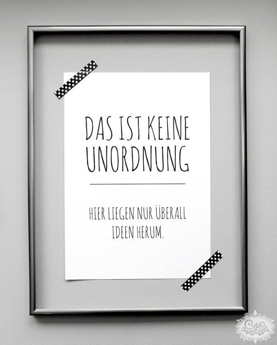 """Art Print POSTER """"UNORDNUNG vs. IDEEN"""" DinA 4 typographic print by cute as a button"""