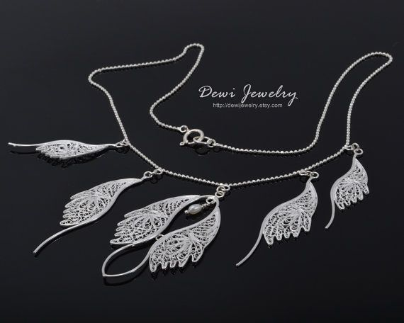 Beautiful Feather Necklace  925 Sterling Silver by DewiJewelry