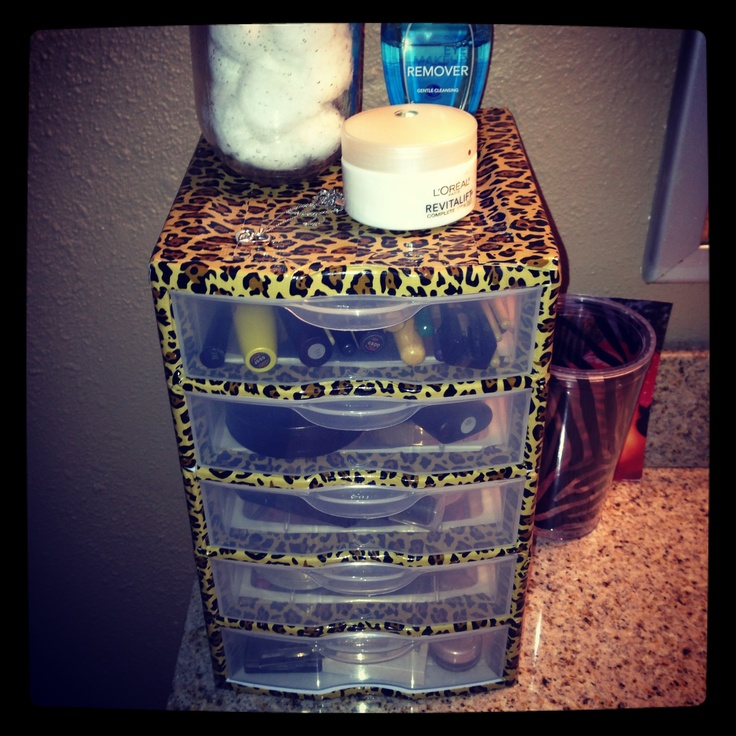 DIY makeup storage. $7 white plastic container & a roll of printed duck tape!