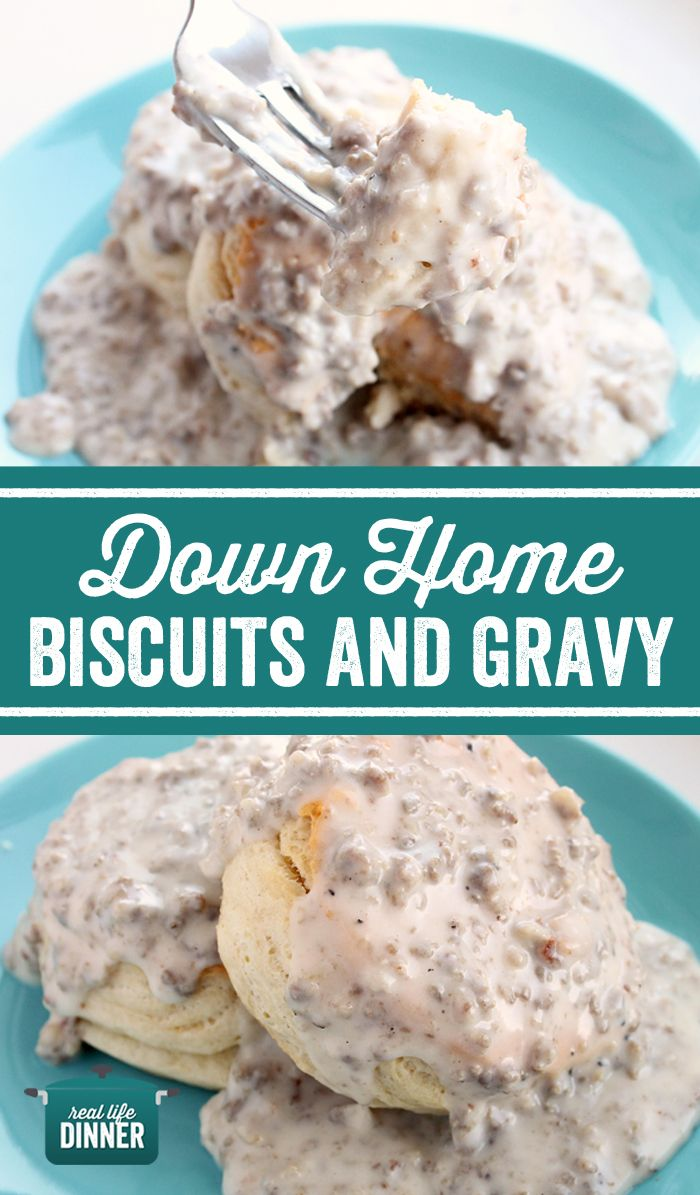 One little ingredient makes all the difference, making these Down Home Biscuits and Gravy the best ones you'll ever have in your life! ~ http://reallifedinner.com