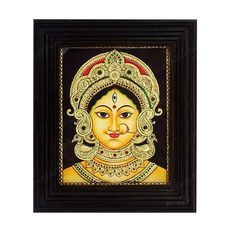 Devi Durga Bengal Style | Tanjore Painting | Material used: Cotton Canvas Material of the Frame: Teak Wood with Glass Frame Product Dimensions (HxB): 12×10 Inches Style: Tanjore Painting Suitable For: Wall Hanging