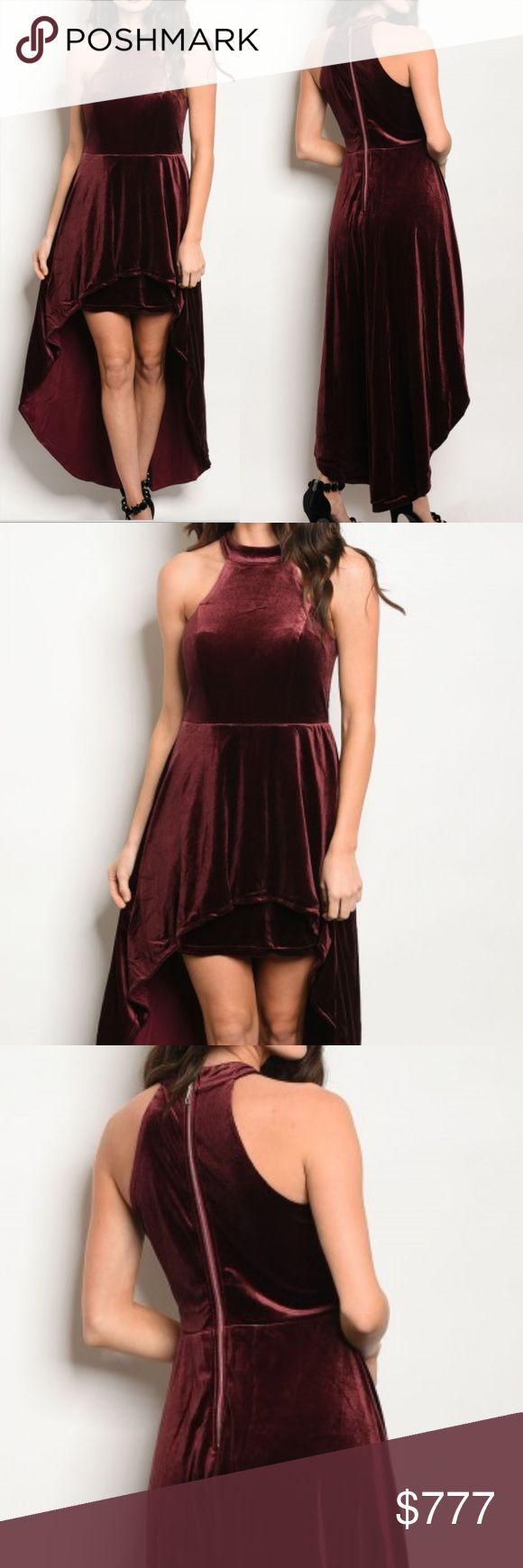 'HOLLY' Burgundy Velvet dress Brand new Boutique item Price is firm  Perfect for the upcoming Holidays and New years, or for a special event /occasion, this stunning Burgundy velvet dress features a double layered skirt/trail, skirt underneath with hi-low flared skirt trail on top and a flattering mock neckline. AS SEEN IN PICS  Zips up in back Fabric Content: 100% POLYESTER Modeled in a size small  * velour formal anniversary party vegas Christmas gift holiday present sleeveless feminine…