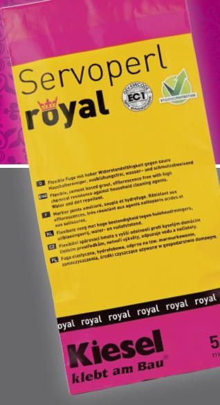 Servoperl Royal - The new grout generation.  Efflorescence free.  Superior resistence to mold and mildew.  Dirt and water repellent.  Made with alumina cement. Does not require sealing.