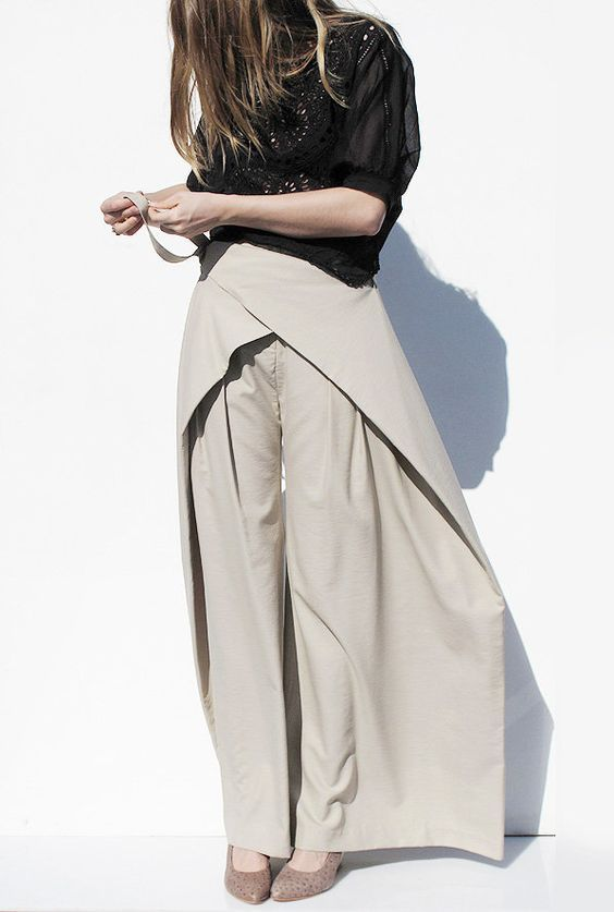 Wide leg wrap trousers - modern tailoring; creative pattern cutting; contemporary fashion: