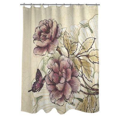 thumbprintz rosette butterfly shower curtain u0026 reviews wayfair