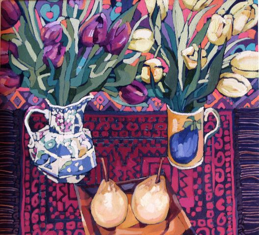 Jennifer Irvine - Tulips on Red Rug