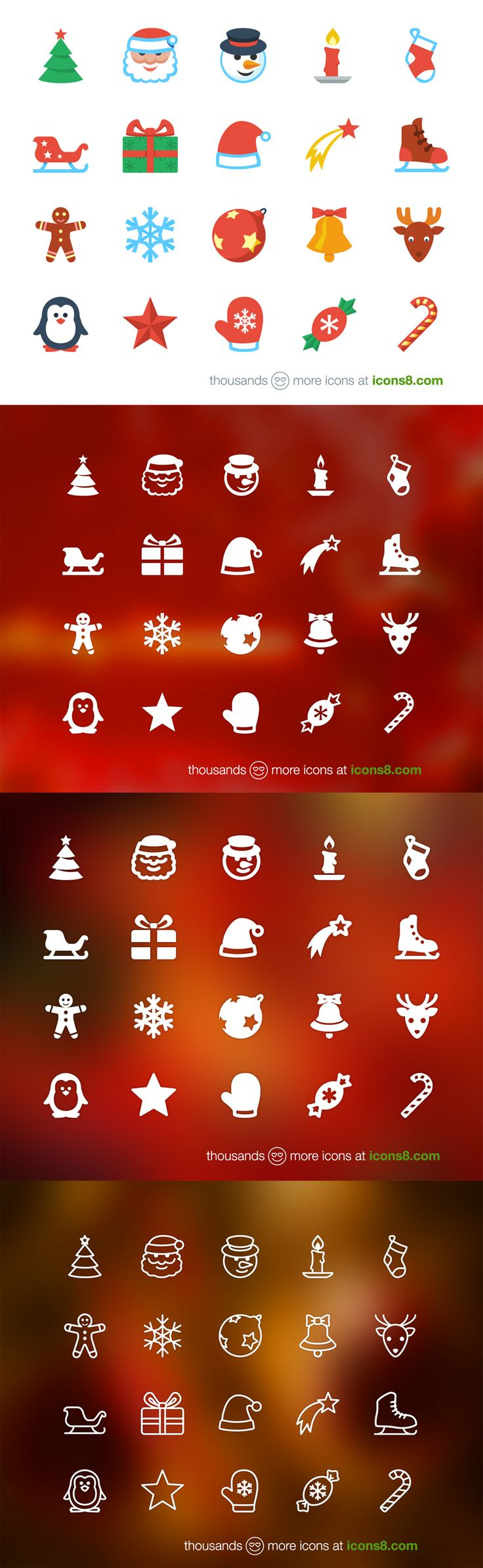 Free Flat Christmas Icons - 4 Styles