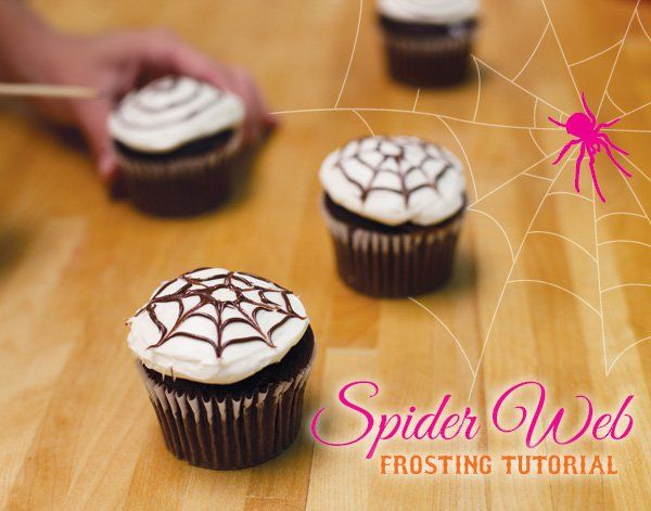 Spider Web Frosting Tutorial from HWTM! 5 EASY steps for a chic halloween cupcake, great for a girls night halloween cocktail party!