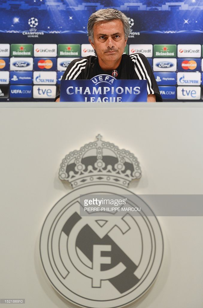 Real Madrid's Portuguese coach Jose Mourinho gives a press conference in Madrid on September 17, 2012 on the eve of the Champions League football match Real Madrid against Manchester City.