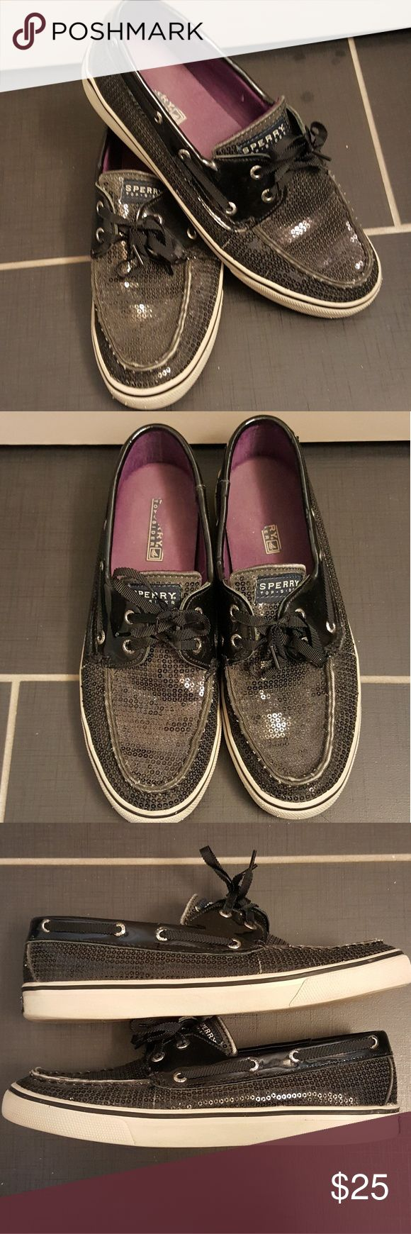 Sperry Top-sider navy blue sequin shoes Sperry Top-sider navy blue (almost black) sequin shoes with purple insoles in womens size 8.5 gently used and cleaned in great condition No stains No missing sequins No tears. NO TRADES Sperry Top-Sider Shoes Flats & Loafers