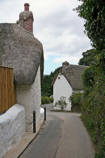 Thatched cottages in the village of Feock, Cornwall, England