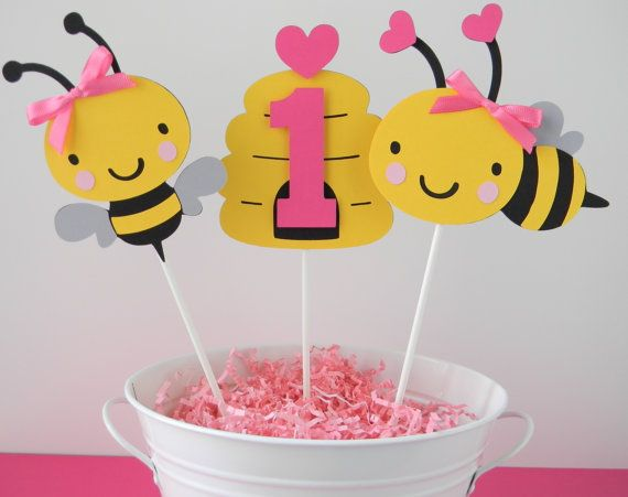 3 Bumble Bee Birthday Party Centerpiece Sticks in Black Yellow and PINK