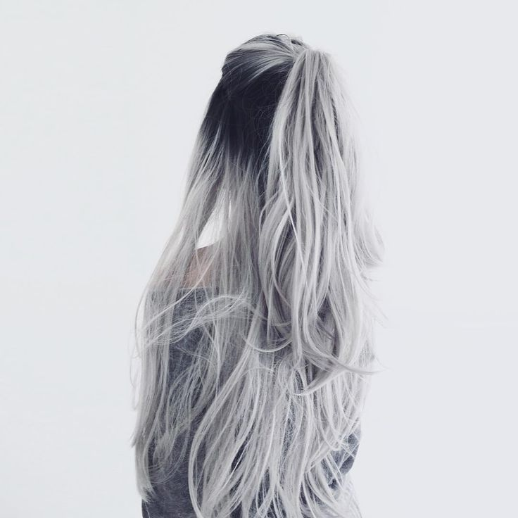 white silver hair ombre color