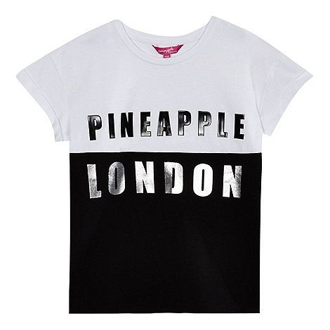 Pineapple Girls' black and white colour block logo top | Debenhams