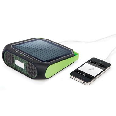 "The Portable Solar Powered Speaker This is the portable solar-powered speaker that charges your music player. The speaker pairs with a Bluetooth-enabled smartphone, tablet, or other wireless music player, playing audio through a 2 1/2"", 3-watt full-range speaker. Ideal for picnics or outdoor locations where AC power isn't available, its rechargeable battery provides up to eight hours of operation"