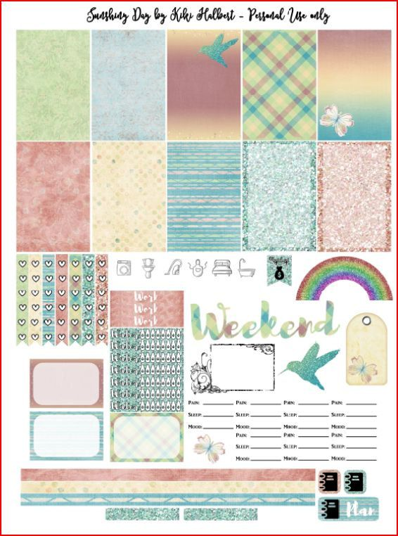 Sunshiny Day Printable Stickers, sized for The Happy Planner by MAMBI. Includes several full boxes, and half boxes, water tracker,several