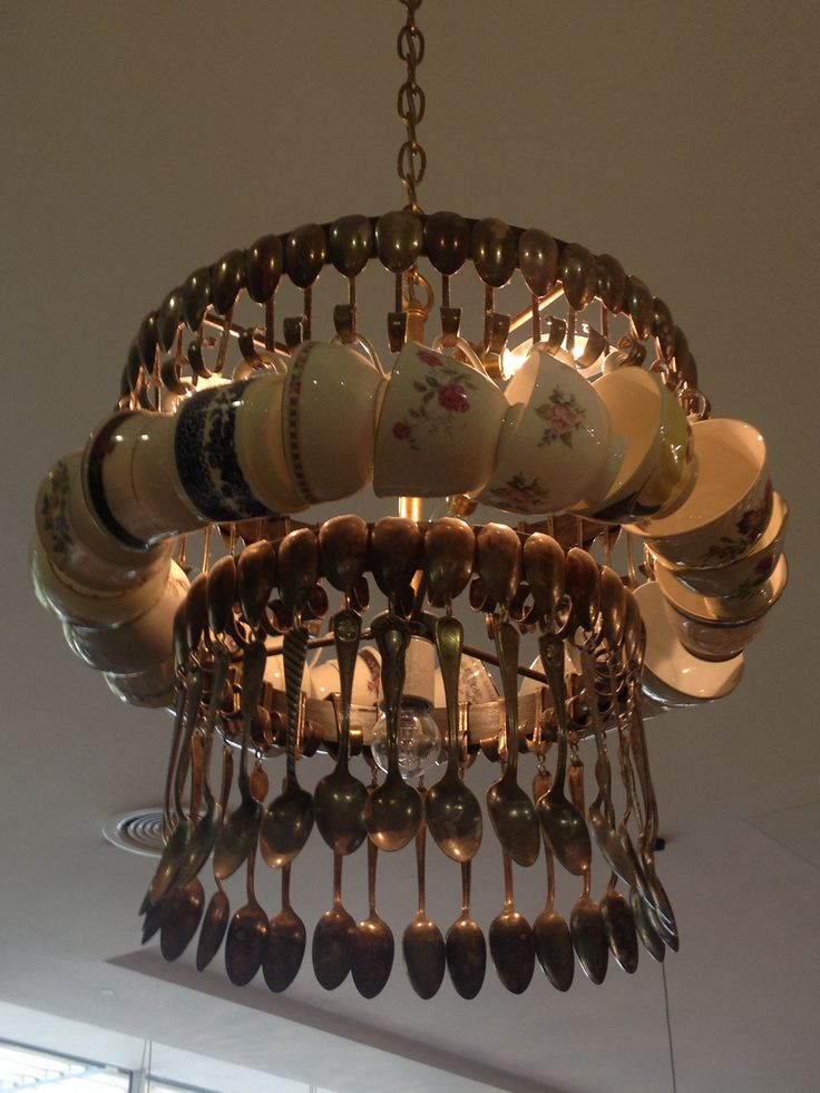 Tea cups and spoons light, Avoca, Malahide Castle, Dublin