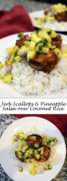 Celebrate Valentine's Day (or the weekend) with a sweet and spicy dinner for two. Sweet pineapple salsa compliments jerk scallops full of flavor in a dinner that comes together quickly.     #RecipesForTwo #DinnerForTwo #ValentinesDay