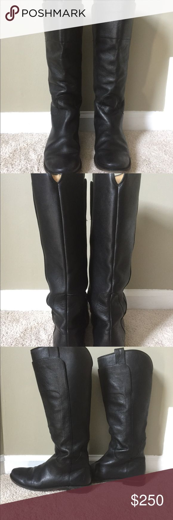 Frye Paige Tall Riding Boot Black 8.5 Like new Authentic Frye Boots! Women's 8.5 black. Worn maybe a dozen times. Great boots, never worn for riding, just for dinner around town. I just moved to a warm climate and don't find myself wearing them. You won't be disappointed! Frye Shoes Winter & Rain Boots