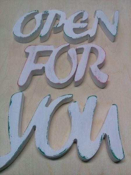 Otwarte dla Ciebie-napis na ścianę. w vitro4u na DaWanda.com