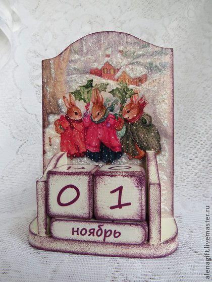 """Вечный календарь """"Рождество"""" - календарь ручной работы,календарь,календарь декупаж"""