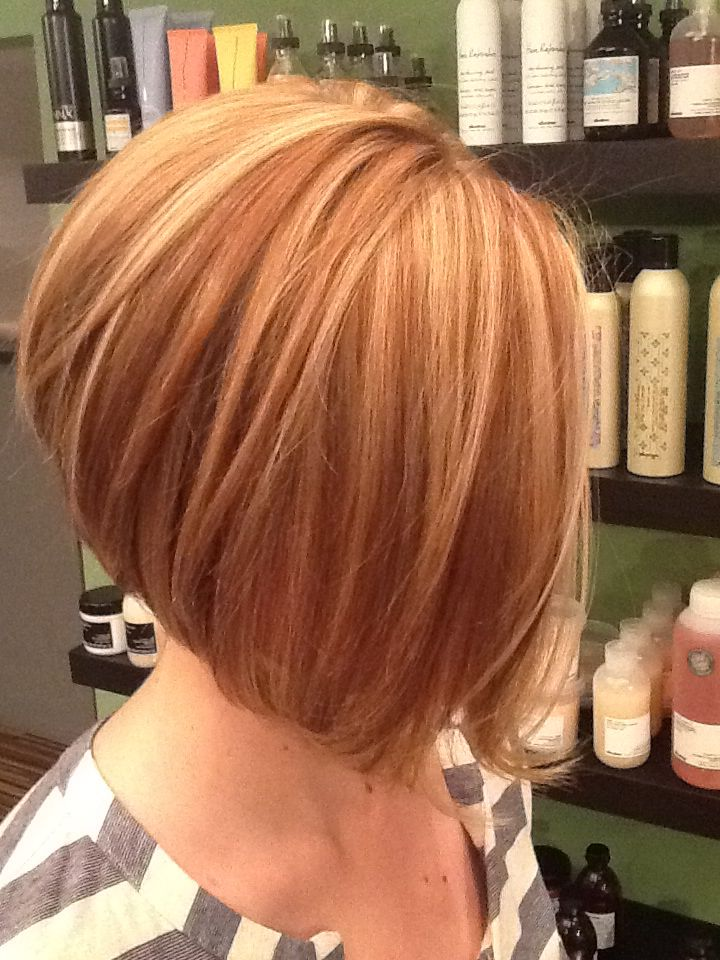 heavy highlight +lowlight, slightly stacked A-line bob ...