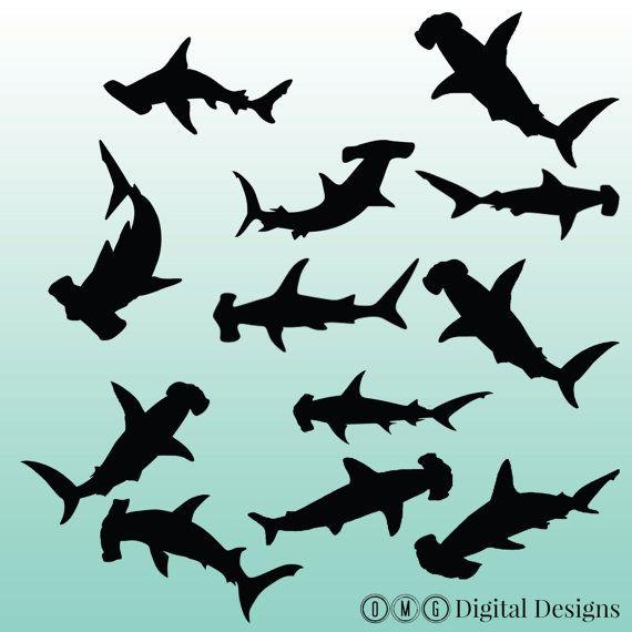 12 Hammerhead Shark Silhouette Digital By