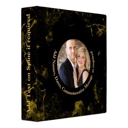 Personalized PHOTO Wedding Album Black Gold Marble 3 Ring Binder - anniversary cyo diy gift idea presents party celebration