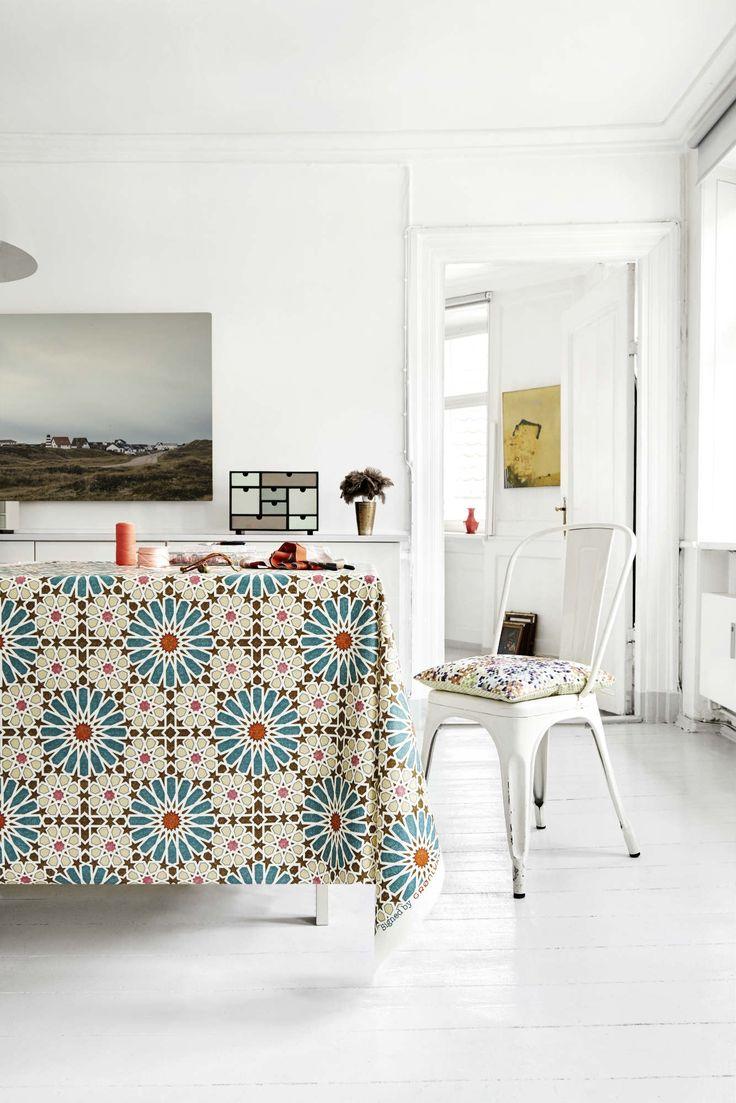 Almost Linen Oilcloth in Marroc Petrol & Brown. Buy online.