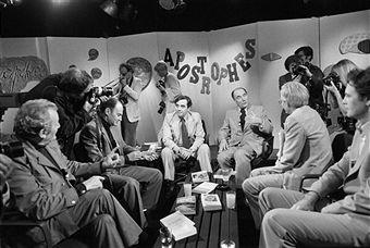 TV program 'Apostrophes' with Francois Mitterand in Paris, France on September 15, 1978 - Paul Guimard, Michel Fournier, Bernard Pivot, Francois Mitterrand, Emmanuel Le Roy Ladurie, Patrick Modiano.