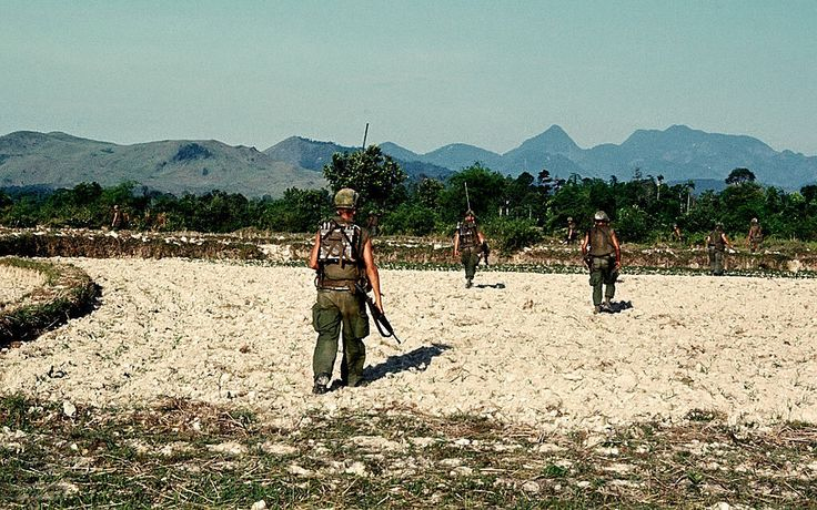 Vietnam War 1968 - U.S. infantry soldiers on patrol in I Corps Quang Ngai Province
