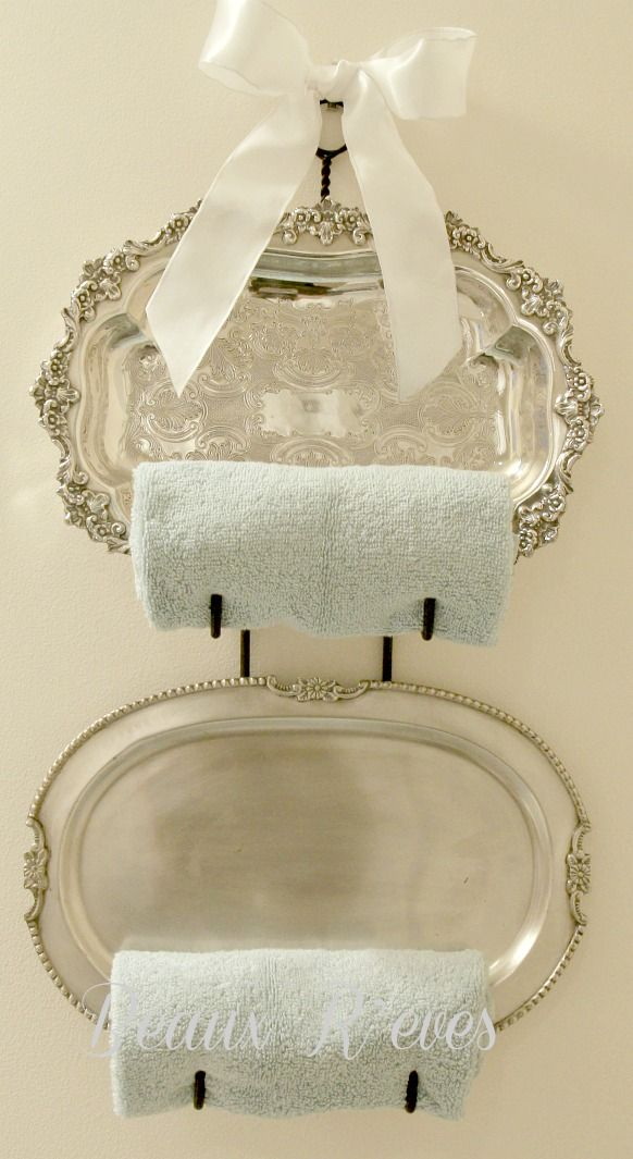 @Rebecca Lowe silver trays and wine racks for towel holders  Beaux R'eves