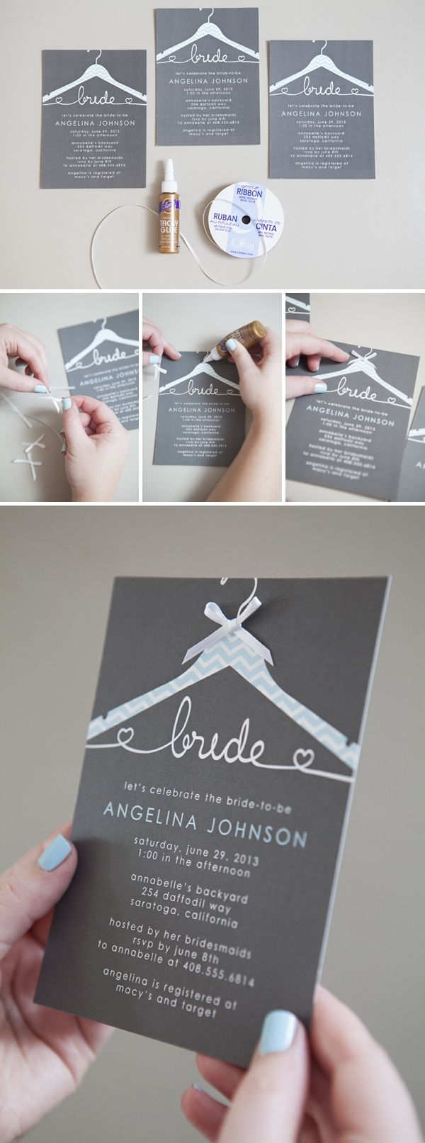 bridal shower invitations registry etiquette%0A How To Embellish   Store Bought   Wedding Invitations